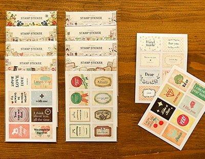 *YOOWOO*C【韓國空運 Decorate YOUR item 復刻浪漫 郵票式 Ancien Vintage 歐風貼紙2入】八款選擇