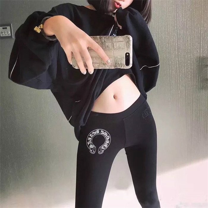 美國chrome heart潮牌潮流馬蹄鐵印字圖案黑色美女裝長褲緊身褲子legging 打底褲
