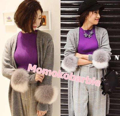 ☆摇滚甜心【AD3550】日本日單口袋真狐狸毛毛裝飾羊毛針織毛衣外套罩衫