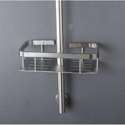 淋浴桿置物架升降桿置物架304不銹鋼掛籃浴室架掛件方角籃單層架·享家生活館