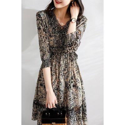 XG 高貴氣質V領鏤空蕾絲印花 收腰顯瘦 真絲洋裝 連身裙