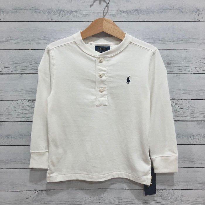 Maple麋鹿小舖 美國購買 童裝品牌POLO RALPH LAUREN 男童米白色亨利長T * ( 現貨3T )