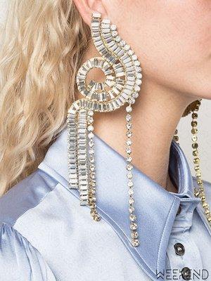 【WEEKEND】 ELLERY Humanity 超大尺寸 特殊造型 水晶 一對 耳環 銀色