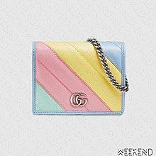 【WEEKEND】 GUCCI GG Marmont Mini 迷你 鍊條 皮夾 短夾 卡夾 肩背包 彩色 625693