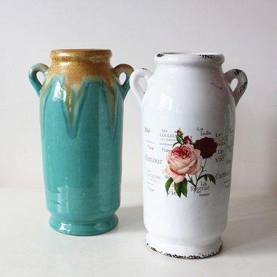 雅典生活館~雙耳小肚陶瓷花瓶擺件客廳插花仿真花花器歐式陶罐景德鎮簡約瓷器
