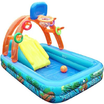 5Cgo 【批發】含稅會員有優惠 2589625981 多功能兒童戲水池游泳池帶充氣滑梯充氣城堡
