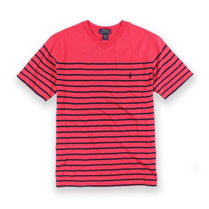 美國百分百【Ralph Lauren】T恤 V領 RL 短袖 T-shirt Polo 小馬 條紋 紅/深藍 I093