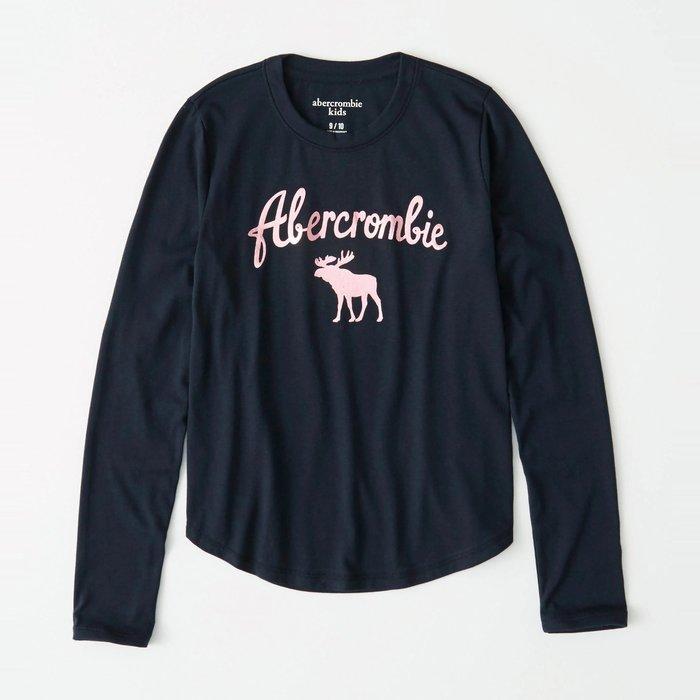 【abercrombie kids】【a&f】af女童款長袖T恤粉漆字鹿黑藍 F07191118-54