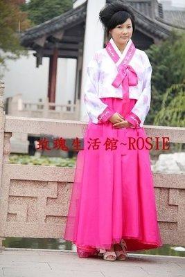 【玫瑰生活館】~ 傳統韓服套裝:大長今裝,韓服,宮廷服:白,紫,黃