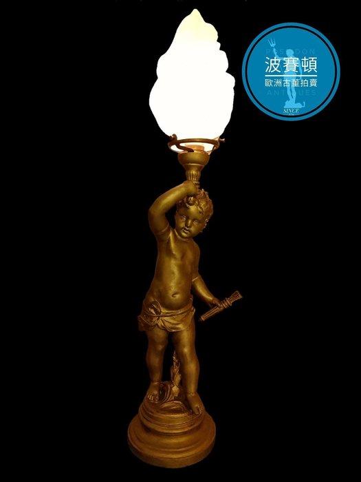 【波賽頓-歐洲古董拍賣】歐洲/西洋古董 法國古董 新藝術風格 大型鎏金天使左手持箭 火焰玻璃燈罩立燈/燭台 (尺寸:高58×直徑15公分)(年份:約1850年)