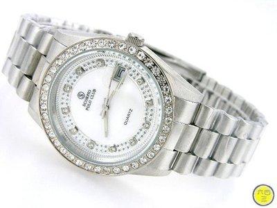 @(六四三鐘錶精品店)@SCOR..(真品)全鋼手錶白色錶面羅馬數字時刻外環水鑽附保証卡