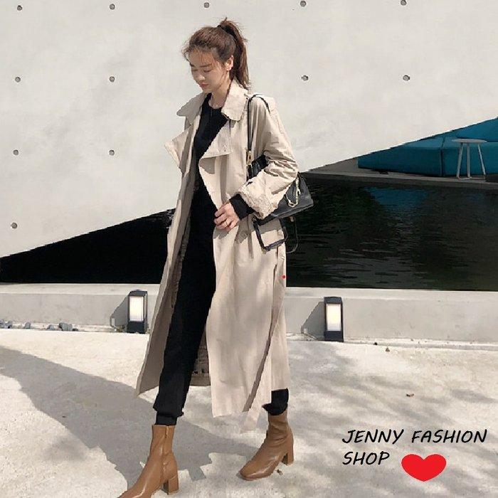 ∴☆ 【Jenny Shop】☆*∴ 韓國連線 正韓~經典雙排釦翻領袖帶風衣外套(附 - 二色預購【108736959】