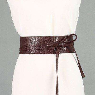 腰封皮帶 素色 綁帶 蝴蝶結 兩圈 百搭 寬版 腰封 腰帶【NRZ131】