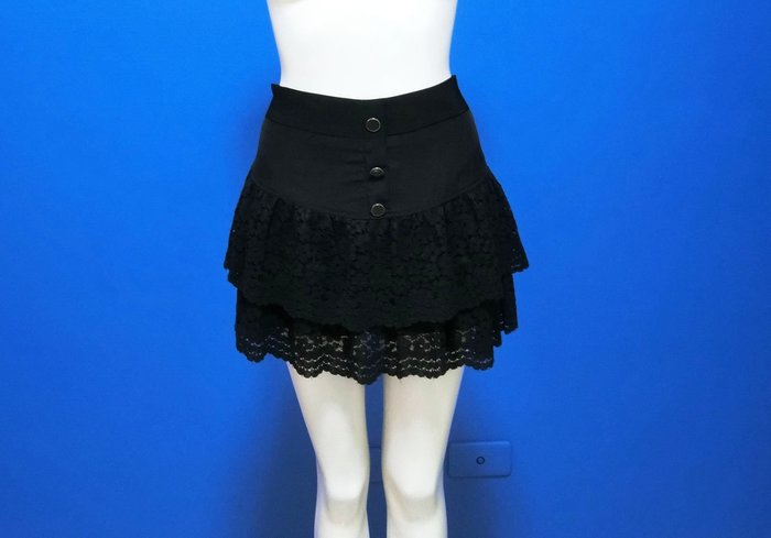 正韓|鬆緊彈性腰假釦雙層蕾絲褲裙(現貨5F10805-913*