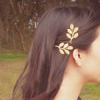 新款清新歐美森系復古金色樹葉邊夾金葉子髪夾髪卡一字夾髪飾頭飾