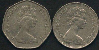 [亞瑟小舖]外幣 英國伊莉莎白二世3枚VF(1969~1975年)