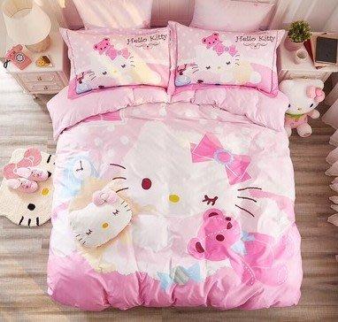hellokitty四件套凱蒂貓純棉床單床包被套兒童卡通全棉床上三件套kt貓