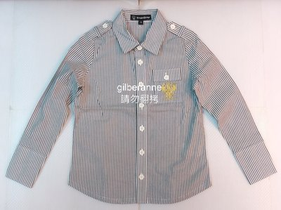 【Knights Bridge】 軍裝灰白條紋 合身版兒童襯衫 M號