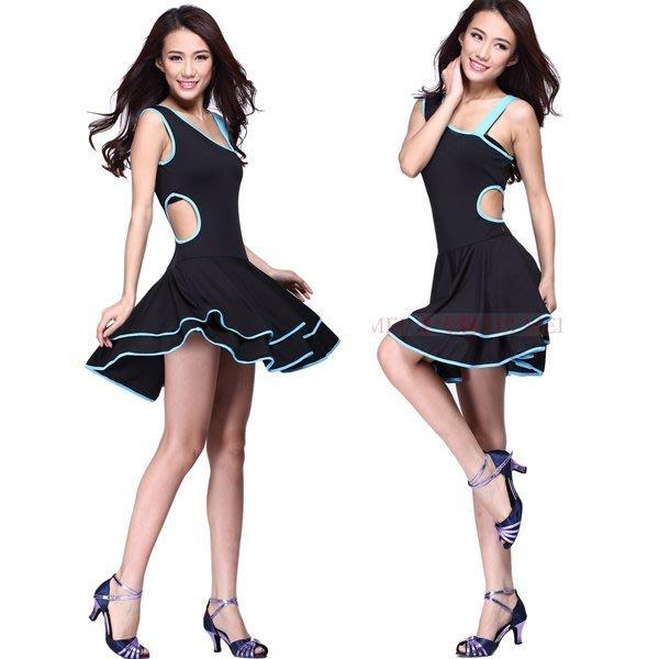 5Cgo【鴿樓】會員有優惠 21642040501 廣場舞拉丁舞練功服裝舞衣舞裙舞蹈服斜肩單肩鏤空連身裙可另購舞鞋飾品