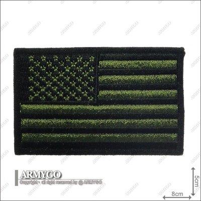 【ARMYGO】美國國旗(綠底黑邊-朝左版)