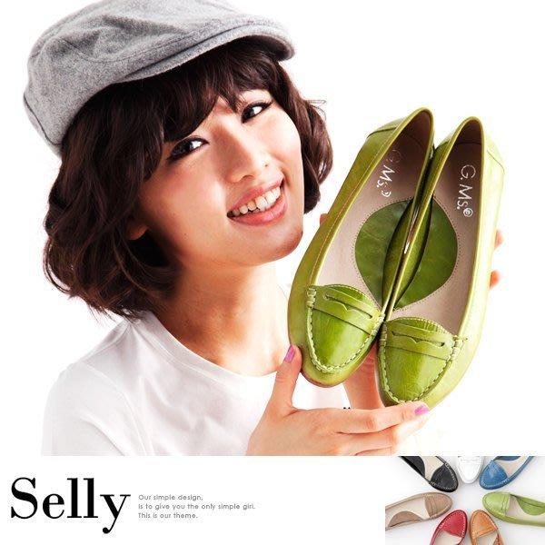 時尚學院風-英倫款牛皮樂福平底鞋-7色-Selly-沙粒-(03U39)