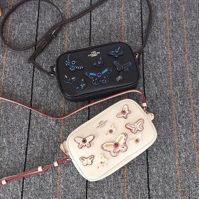 空姐精品代購 COACH 59070 新款女士立體蝴蝶鑲花珠飾斜挎包 雙層相機包 時尚優雅 附代購憑證