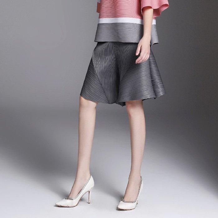 三宅風格 皺摺衣褲 褲裙 闊腿褲 短褲 黑色 灰色 五分褲 ~ 3H002