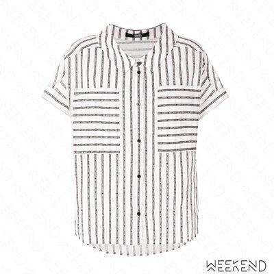 【WEEKEND】 KARL LAGERFELD 卡爾 Karl Sails Logo 條紋 白色 短袖 襯衫 18春夏