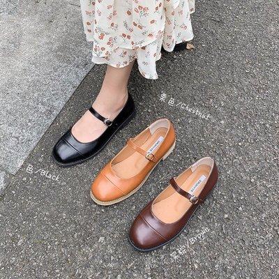 Lady潮流女鞋 推薦正韓chic新款圓頭淺口一字皮帶扣粗跟大碼單鞋復古瑪麗珍鞋女