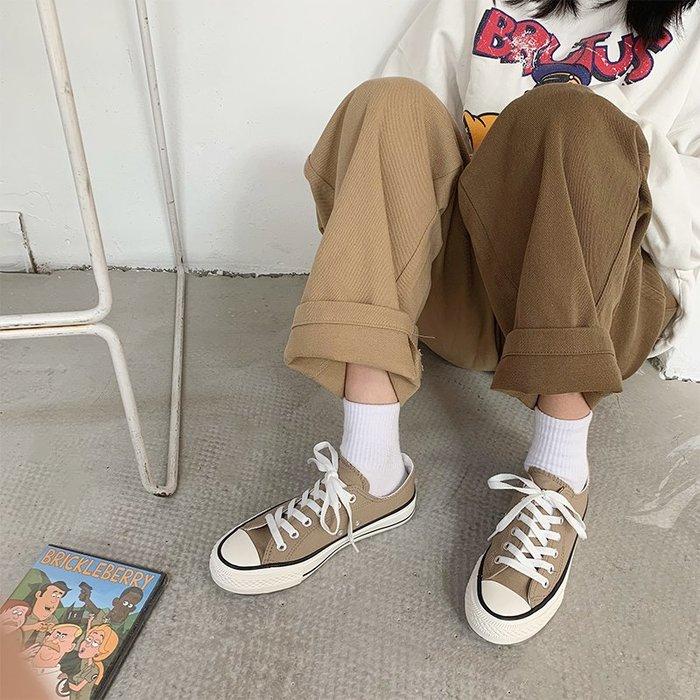 小尤家~春季新款小白鞋女春學生韓版帆布鞋百搭平底港風ins板鞋街拍