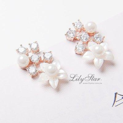 LilyStar.細緻珍珠貝殼鑲鑽氣質耳環 【IL1766】