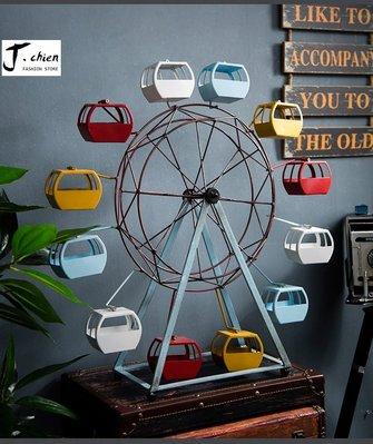 J.chien ~[全館免運]美式復古摩天輪模型擺件 創意酒櫃裝飾道具 工業風擺設 咖啡廳裝飾 桌面擺設(小)
