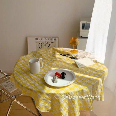 高雄金智秀~韓國ins簡約溫柔黃色格子桌布野餐布少女心家居裝飾網紅美食拍照