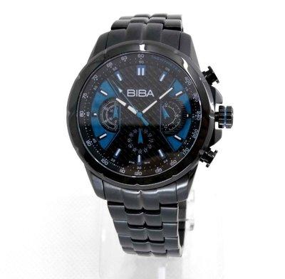 【幸福媽咪】網路購物、門市服務 BIBA 碧寶錶 三眼計時碼錶 男錶/黑藍44mm 型號:B76BS016D