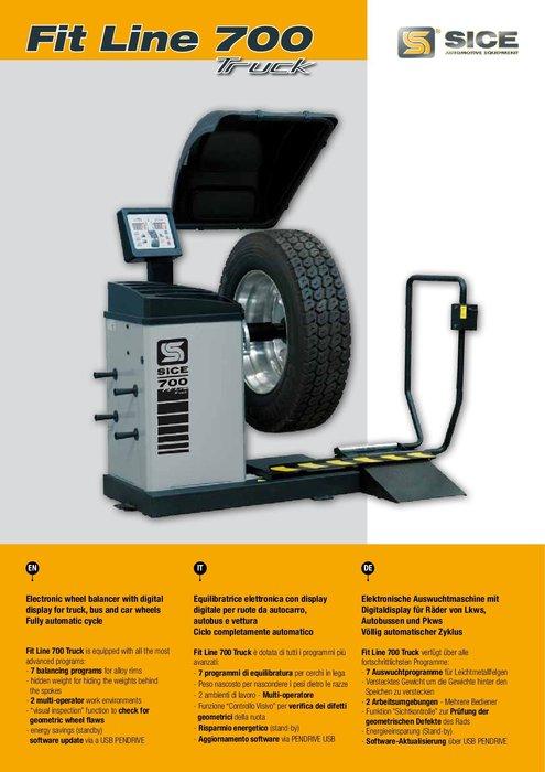 大城輪胎機械 SICE FIT LINE 700 大小車兩用輪胎平衡機 型錄