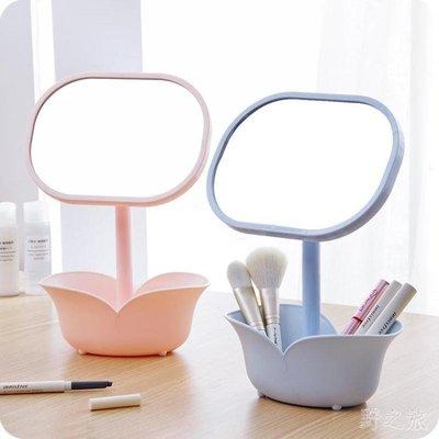 創意簡約臺式帶儲物盒二合一可旋轉化妝鏡xx6378