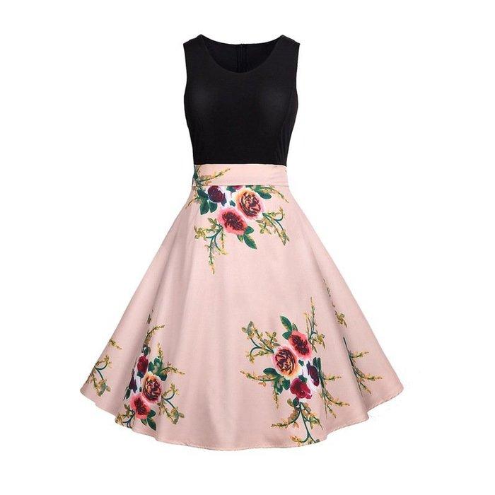 【店長推薦】音符連身裙美女大擺裙無袖A080印花新款速賣通亞馬遜熱賣歐洋裝復古