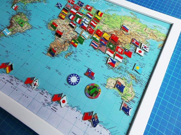 【衝浪小胖】世界地圖國旗徽章組合/胸章/胸針/別針/勳章/獎章