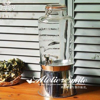 [ Atelier Smile ] 鄉村雜貨 美式復古 玻璃冰桶 酒桶 飲料桶 8.4公升 野餐 派對 附底座+水龍頭