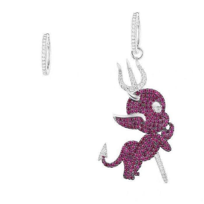 Melia 米莉亞代購 商城特價 數量有限 每日更新 APM MONACO 飾品 耳環 紅晶鑽魔鬼不對稱耳環