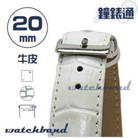 【鐘錶通】C1.20I《亮彩系列-手拉錶耳》鱷魚格紋-20mm 簡約白┝手錶錶帶/皮帶/牛皮錶帶┥