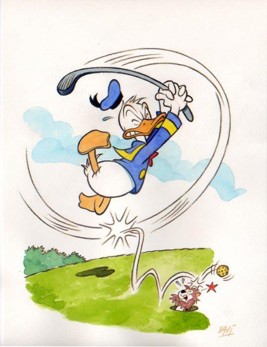 迪士尼 藝術家XAVI (Xavier Vives Mateu)原創藝術作品 Donald play golf