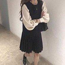 Cicigo韓國服飾 正韓 復古減齡學院風百摺背心連衣裙 洋裝  /KB21Y-0222-035