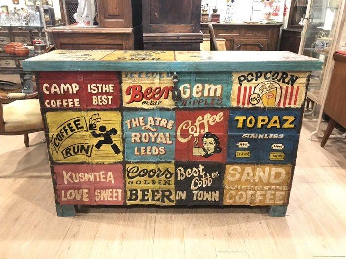 【卡卡頌 歐洲跳蚤市場/歐洲古董】※清倉特價※全手繪老件 繽紛彩繪 可口可樂 7up 啤酒 全實木收納櫃ca0192✬