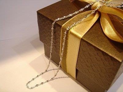 台灣14K項鍊 白K金項鍊-~可搭配各式鑽石 珍珠 玉 墬子 皆可--扁珠鍊子A0B77