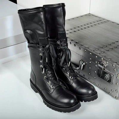 【黑店】歐美個性街拍潮流中筒靴 暗黑系機車靴 暗黑系短靴 假兩層個性短靴 個性黑色機車靴 超好看雙層馬丁靴 SH126