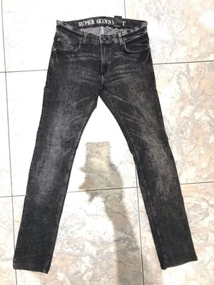 H&M skinny fit 水洗牛仔褲 灰 w30
