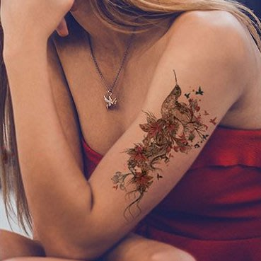 【萌古屋】花鳥蝴蝶 - 男女防水紋身貼紙刺青貼紙AQ-007 K19