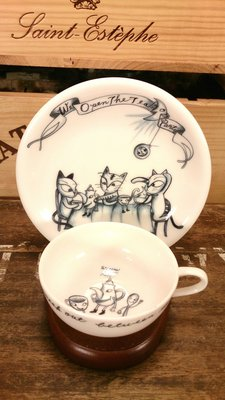 """加藤真治〈SHINZI KATOH〉早期著名作品""""貓咪茶會Party""""咖啡杯一客:加藤真治 貓咪 咖啡杯 茶具 陶瓷"""