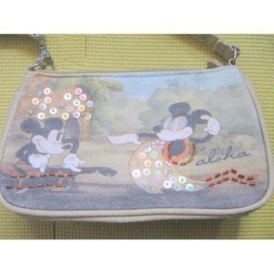 絕對100%真品 95%新【DisneyLand】灰色 米老鼠 Mickey Mouse 麻布 手挽袋 100% cotton (原價$299]